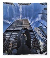 Fisheye View Of Chicago's Picasso Fleece Blanket