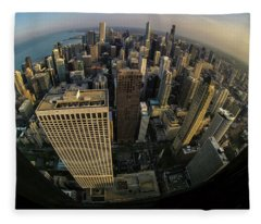 Fisheye View Of Dowtown Chicago From Above  Fleece Blanket