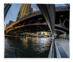 Fisheye View From The Chicago Riverwalk Fleece Blanket