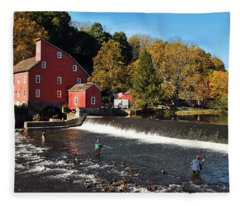 Fishing At The Old Mill Fleece Blanket