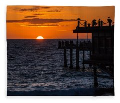 Fishing At Twilight Fleece Blanket