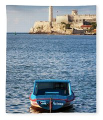 Fishing Boat At Morro Castle Havana Cuba Fleece Blanket