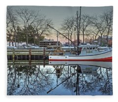 Fishing Boat At Newburyport Fleece Blanket