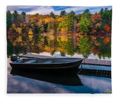 Fishing Boat On Mirror Lake Fleece Blanket