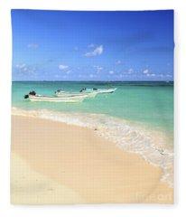 Fishing Boats In Caribbean Sea Fleece Blanket