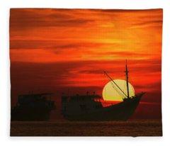 Fishing Boats In Sea Fleece Blanket
