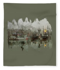 Fishing Fleet Dock Five Fleece Blanket