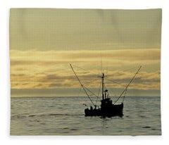 Fishing Off Santa Cruz Fleece Blanket