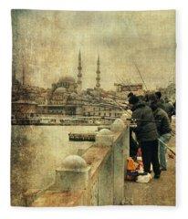 Fishing On The Bosphorus Fleece Blanket