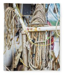 Fishing Ropes On Boat  Fleece Blanket