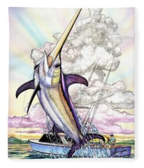 Fishing Swordfish Fleece Blanket