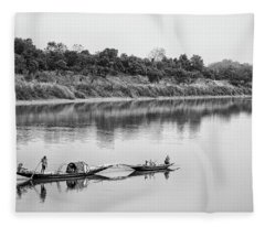 Fishing The Lower Ganges Fleece Blanket