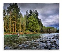 Fishing The Run Fleece Blanket
