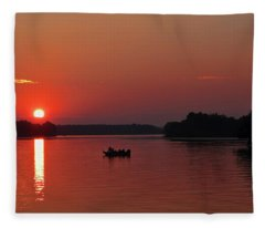 Fishing Until Sunset Fleece Blanket