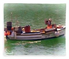 Fleece Blanket featuring the digital art Fishing Vessel  by Paul Gulliver