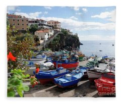 Fishing Village On The Island Of Madeira Fleece Blanket
