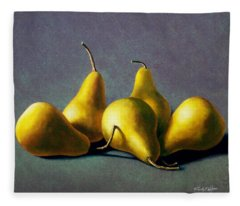 Five Golden Pears Fleece Blanket