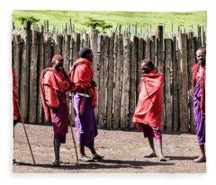 Five Maasai Warriors Fleece Blanket