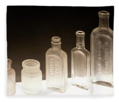 Five Old Glass Bottles Fleece Blanket