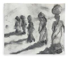 Five Women Immigrants Fleece Blanket