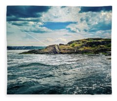 Fjord From The Ferry Fleece Blanket