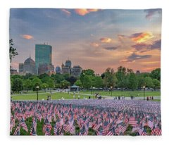 Flag Sunset On Boston Common Fleece Blanket