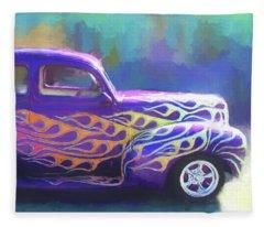 Flamed 1940 Ford Fleece Blanket