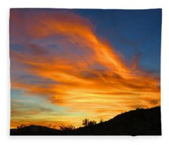 Flaming Hand Sunset Fleece Blanket