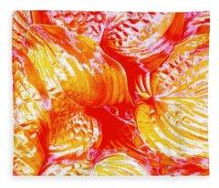 Flaming Hosta Fleece Blanket