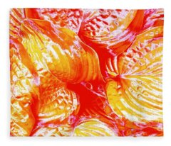 Flaming Hosta Fleece Blanket