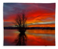 Flaming Reflections Fleece Blanket
