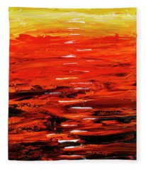 Flaming Sunset Abstract 205173 Fleece Blanket