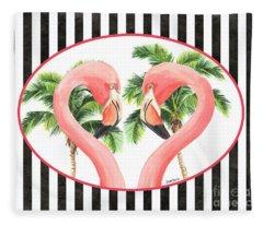 Flamingo Amore 5 Fleece Blanket