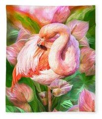 Flamingo Flower Mixed Media Fleece Blankets