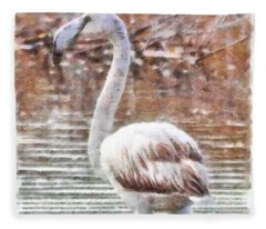 Flamingo Feathers Watercolor Fleece Blanket