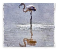 Flamingo Ripples And Reflections Watercolor Fleece Blanket