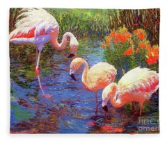 Flamingo Tangerine Dream Fleece Blanket