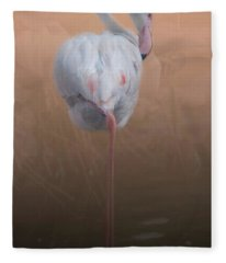 Flamingo With Overlay Fleece Blanket