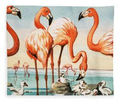 Flamingoes Fleece Blanket