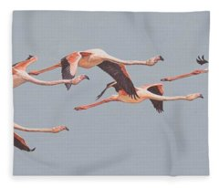 Flamingos In Flight Fleece Blanket