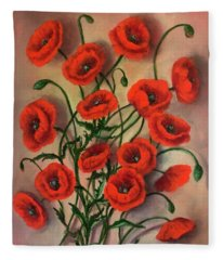 Flander Poppies Fleece Blanket
