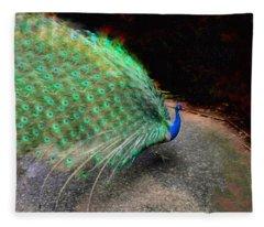 Flaunting Green Feathers Fleece Blanket