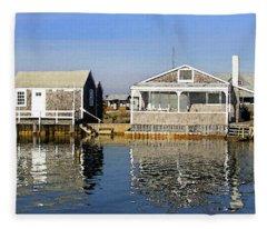 Fletchers Camp And The Little House Sandy Neck Fleece Blanket