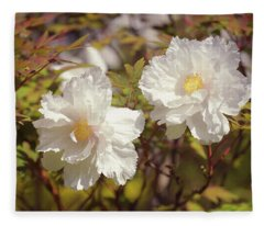 Flight Of Cranes. Japanese Tree Peonies Fleece Blanket