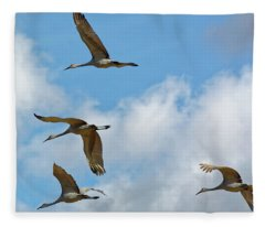 Flight Of The Cranes Fleece Blanket