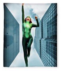 Flight Of The Green Lantern Fleece Blanket