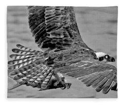 Flight Of The Osprey Bw Fleece Blanket