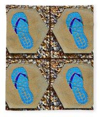 Flip Flop Square Collage Fleece Blanket