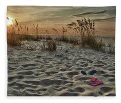 Flipflops On The Beach Fleece Blanket