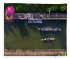 Fleece Blanket featuring the photograph Floating Market Aerial View by Pradeep Raja PRINTS
